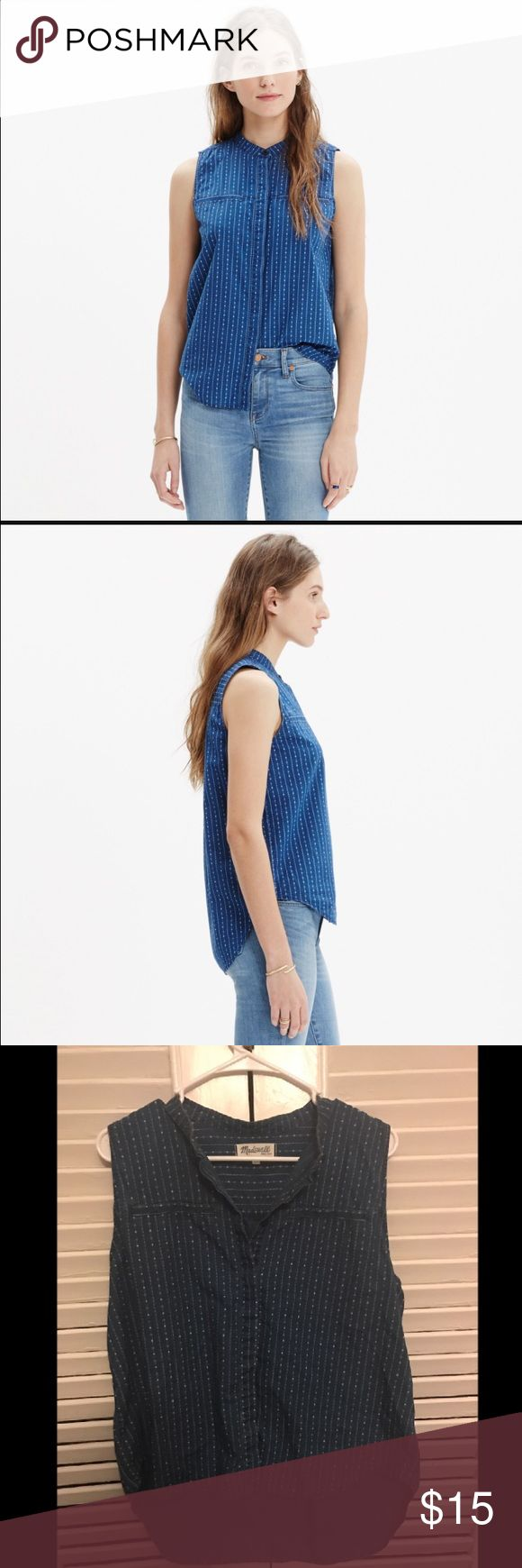 Madewell Denim Chambray Sleeveless Shirt Madewell Denim sleeveless top with white dots/ stripes. Size XL. Gently used. Madewell Tops Button Down Shirts