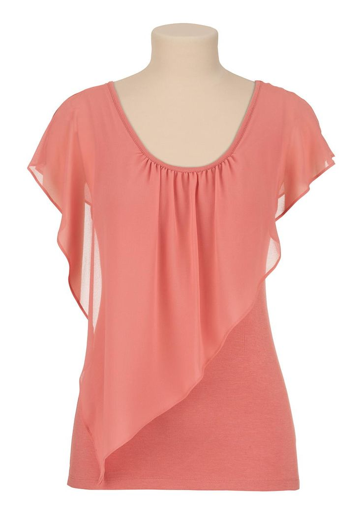 Flutter sleeve chiffon overlay tee in bisque- maurices.com ♥