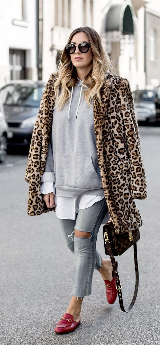 leopard faux fur coat outfit | gucci loafers and hoodie | best street styles