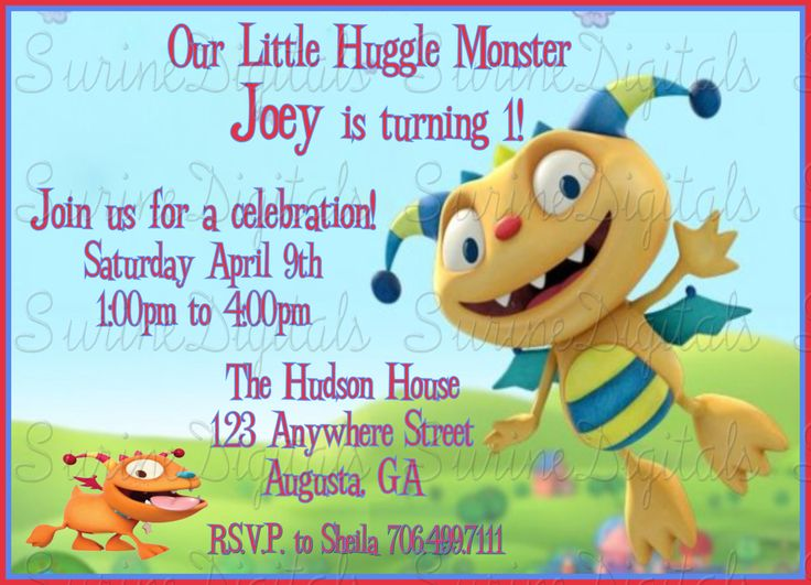 Henry Huggle Monster Birthday Party Invitation, Child's Party Invite, Huggle Monster Party Theme by SurineDigitals on Etsy