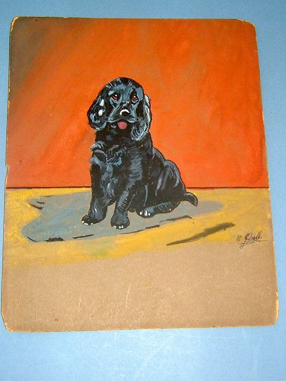 1930s Vintage Art OOAK Painting Vintage Gouache by BiminiCricket