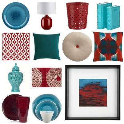 Red and teal accessories. For Merry Crowder. (colors)