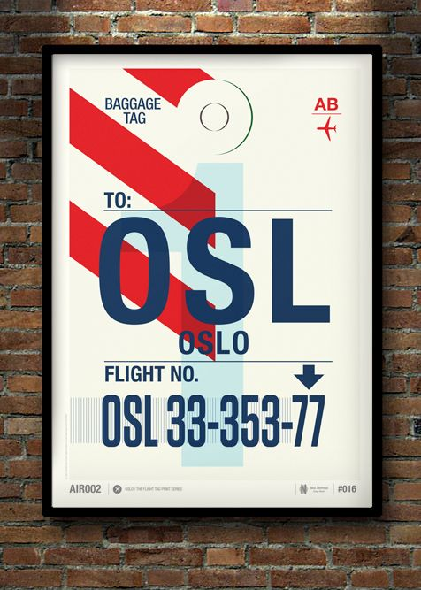 Love Neil Stevens design! This Flight Tag Prints Series is just great. Vol. 2 by Neil Stevens, via Behance