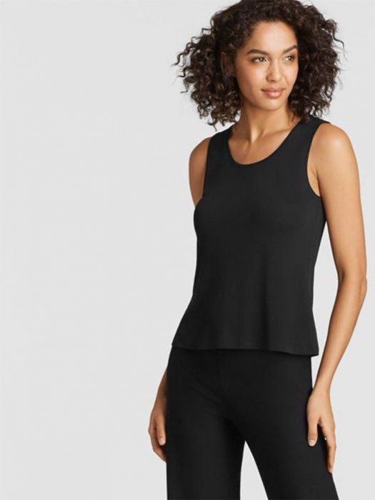 8f0d5f984183 Eileen Fisher System Silk Jersey Short Shell in Black