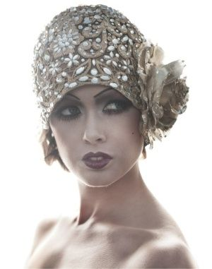 1920's Sequined Floral Flapper Cloche makeup very inspiring