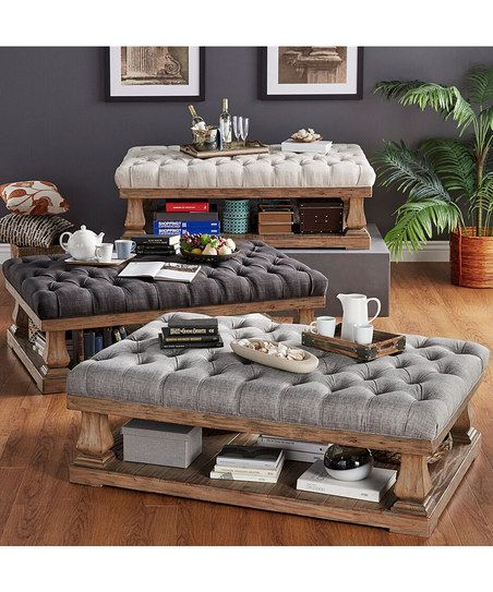 HomeBelle Gray Linen Tufted Baluster Cocktail Ottoman | zulily