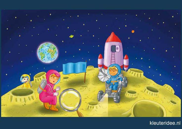 Praatplaat Ruimte, maan astronauten 7 kleuters, kleuteridee.nl , free printable (groot formaat) / Preschool theme space planets / Láminas Didácticas Astronaute de l'espace maternelle
