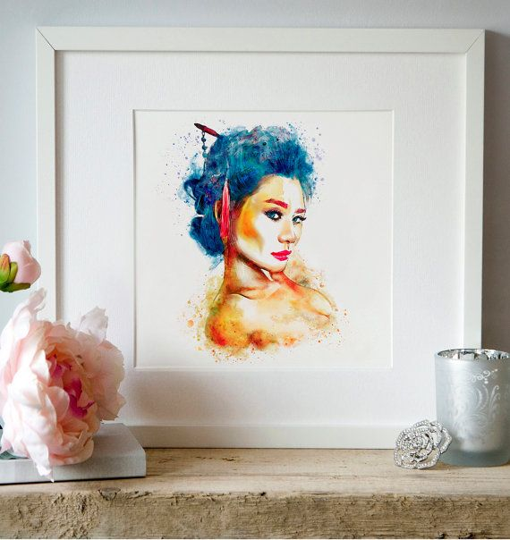 Geisha girl Watercolor portrait Japanese Printable by Artsyndrome