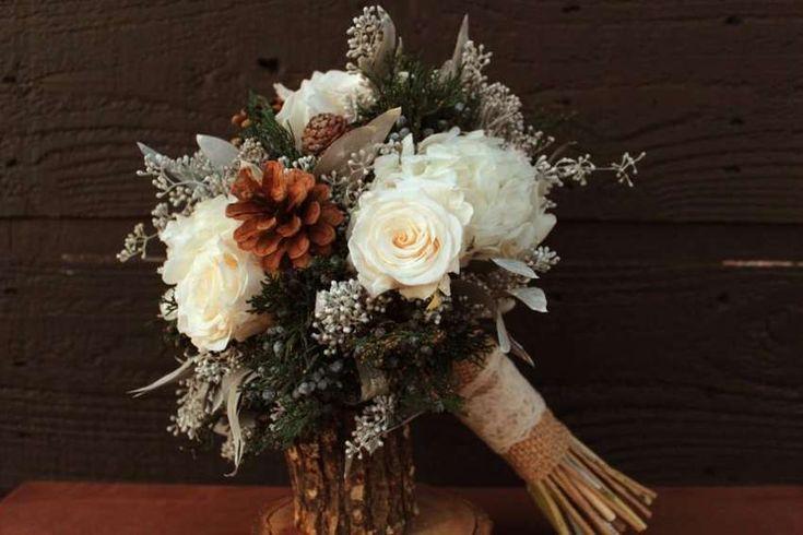 Зимний свадебный букет невесты с шишками, онлайн