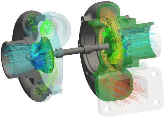 turbocharger OpenFOAM CFD temperature streamlines transparent