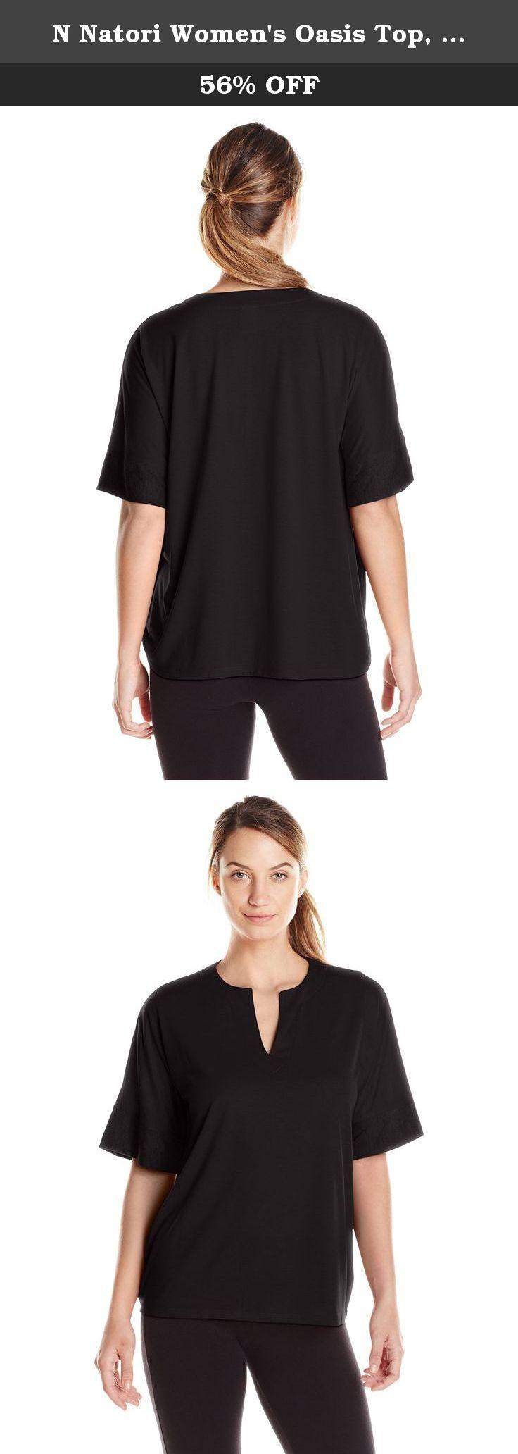 N Natori Women's Oasis Top, Black, Medium. Solid knit top.