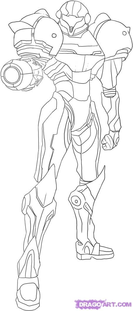 Samus full armor Coloring pages Pinterest Metroid