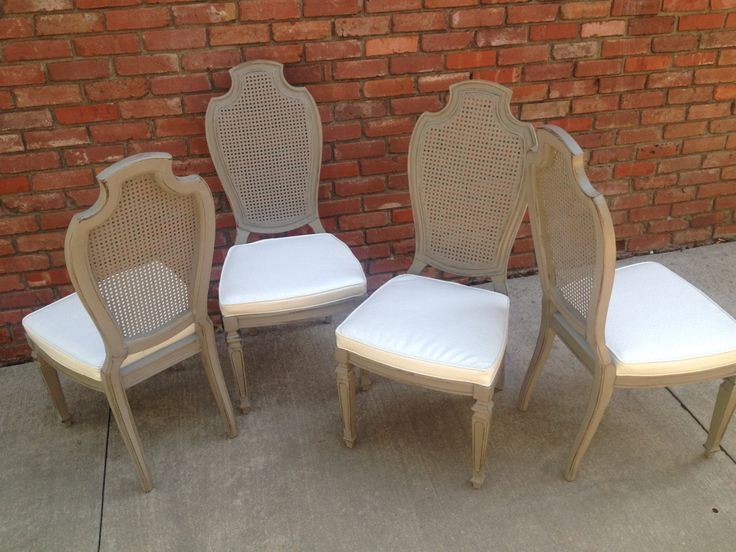 Vintage French Cane Painted Dining Chairs Set Of Four  Dining Adorable Cane Dining Room Chairs Decorating Inspiration
