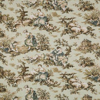 Pistachio Cliffside Folktales Home Decor Fabric