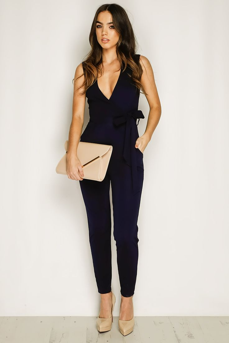 Millie Navy Sleeveless Jumpsuit at misspap.co.uk