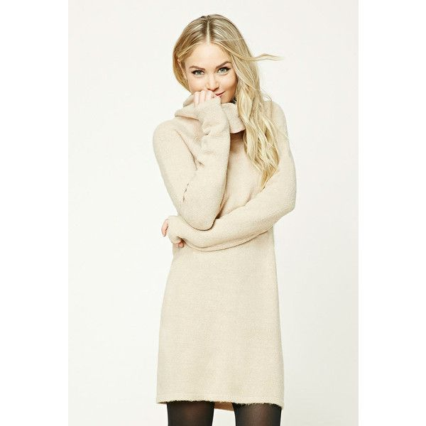 Forever21 Contemporary Cowl Neck Dress (79 RON) ❤ liked on Polyvore featuring dresses, beige, long white dress, beige shift dress, white sleeve dress, long dresses and long-sleeve shift dresses