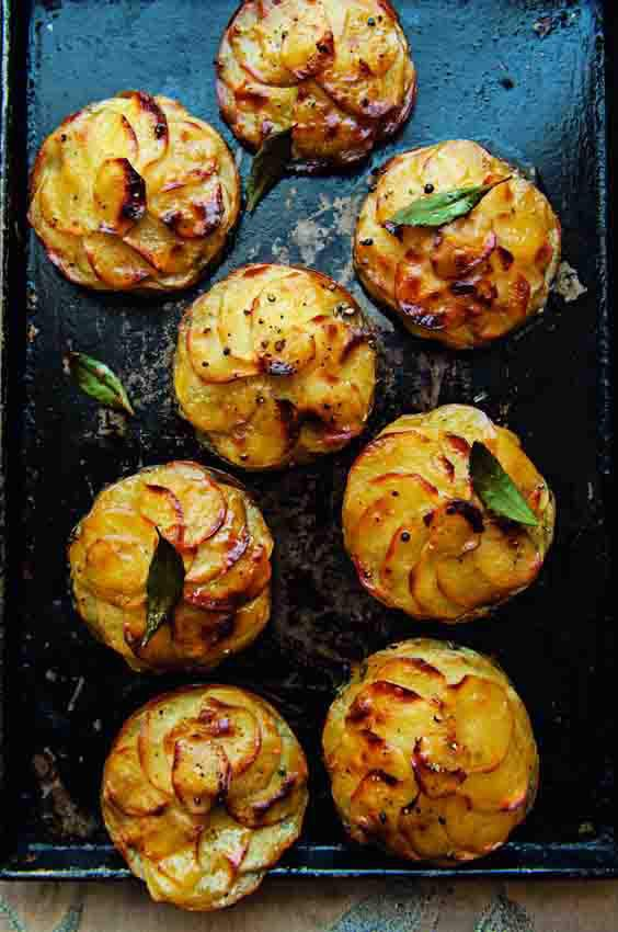 Glazed potato galettes with herbs