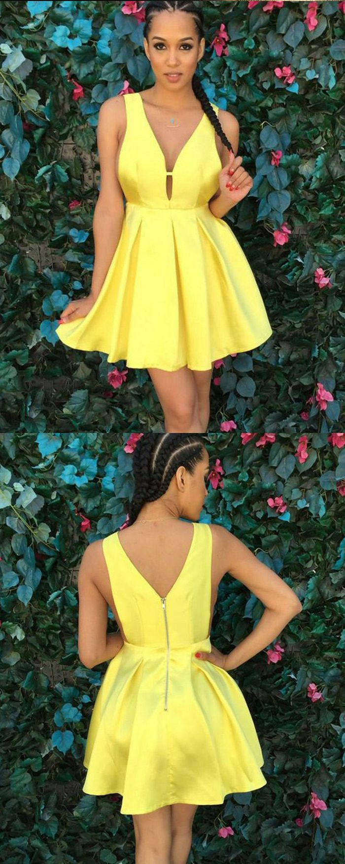 A line simple yellow satin pleated short homecoming dress hd in