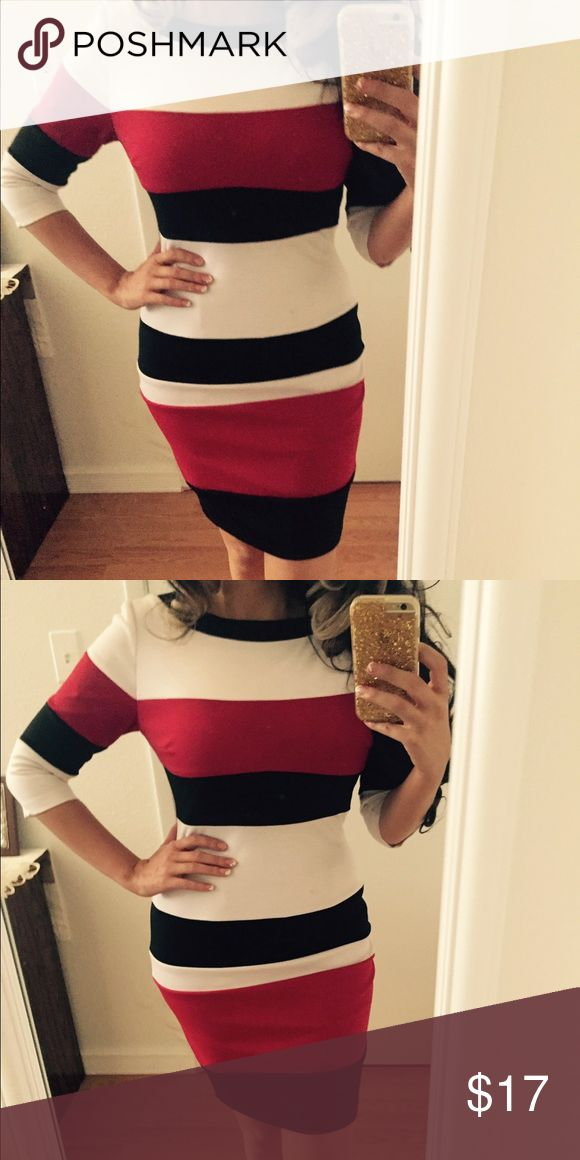 Striped sweater dress Red/black/white striped sweater dress.  Has a nice stretch and back zipper. Dresses Long Sleeve