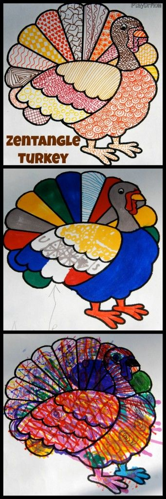 Connect and create with kids making Zentangle Turkeys