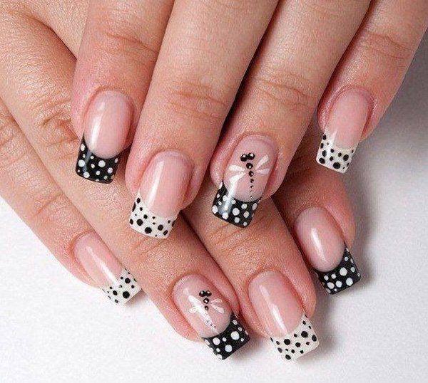 French nails with black and white polka dots and dragonfly - 30 Adorable Polka Dots Nail Designs