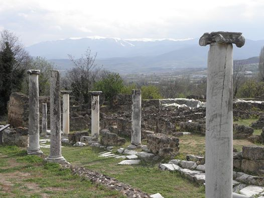 Ruins of a pillar-lined Roman road at Edessa in Macedonia (Northern Greece).