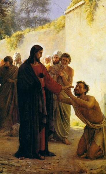 """Jesus Heals the Blind Man. BIBLE SCRIPTURE: John 9:6, """"When he had thus spoken, he spat on the ground, and made clay of the spittle, and he anointed the eyes of the blind man with the clay,"""""""