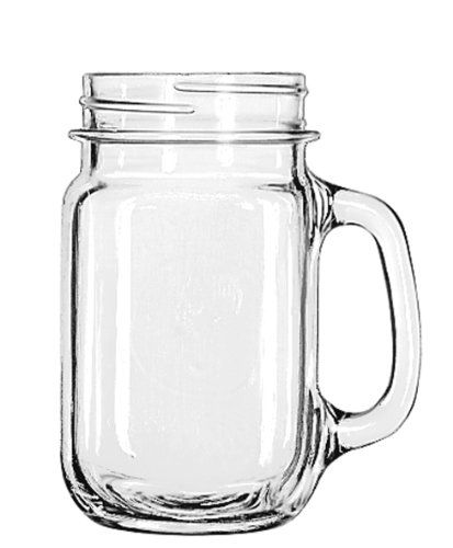 libbey drinking jar with handle 16 ounce set of 12 libbey http - Mason Jar Drinking Glasses