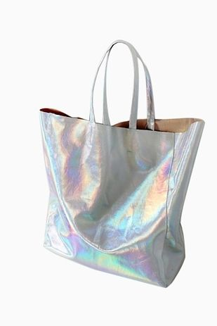 15 Shopping Sites You'll Wish You Had Known About Sooner- Holographic Leather Tote Bag: $39.99, Eyeball Print Men's Sweatshirt: $35.99