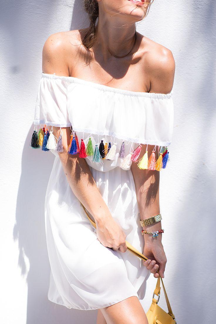 tassel trim. White short dress for women.