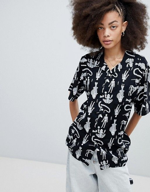 ccfca213129 Obey Button Front Shirt With Animal Skeleton Print in 2019