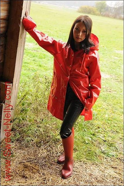 Red Pvc Hooded Raincoat Amp Red Rubber Boots Girls In