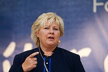 Erna Solberg is a Norwegian politician who has been Prime Minister of Norway since October 2013 and Leader of the Conservative Party since May 2004.She graduated with her cand.mag. degree in sociology, political science, statistics and economics from the University of Bergen.