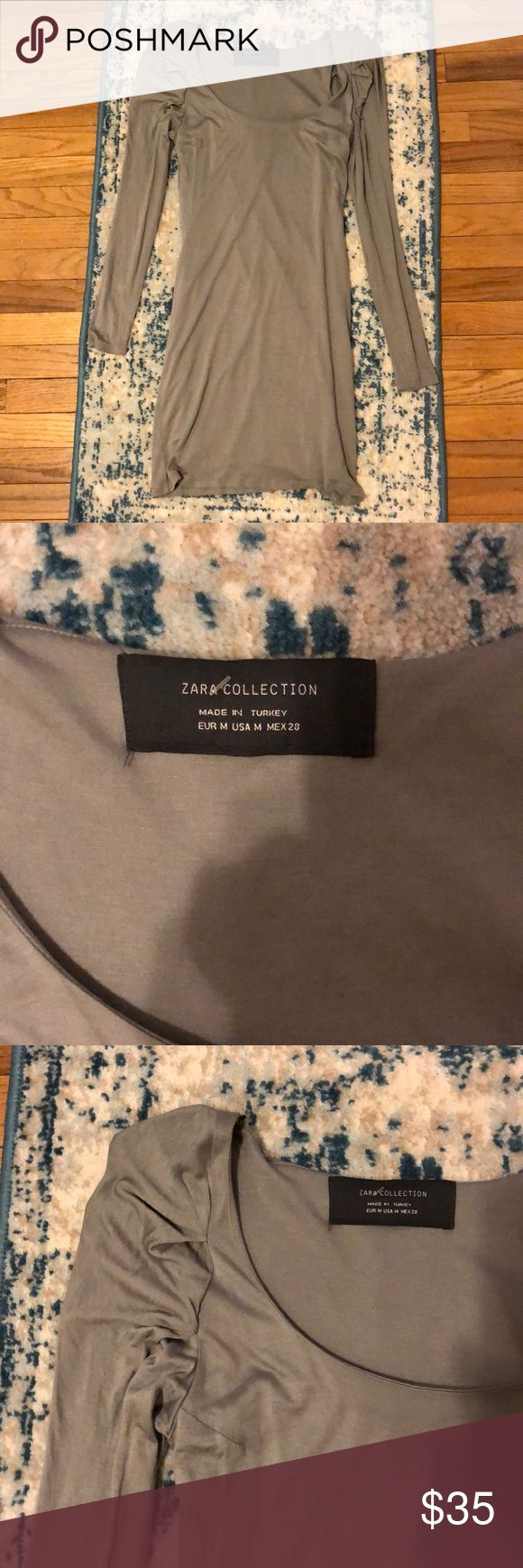 Zara Collection grey cocktail dress! Absolutely beautiful soft Zara Collection dress size Medium in excellent condition! Zara Dresses Long Sleeve