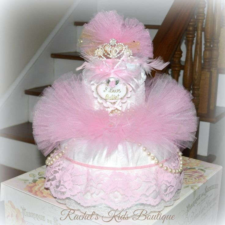 only a penny ballerina tutu diaper cake baby shower centerpiece pink
