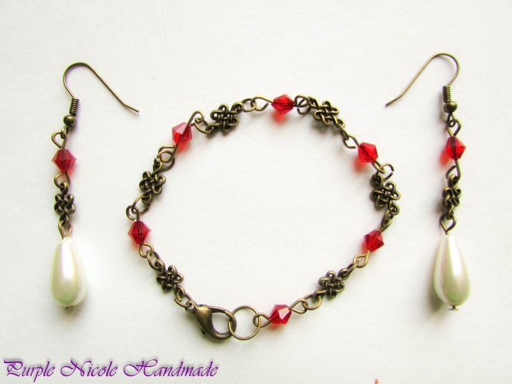 Vintage Red - Handmade Jewelry Set: bracelet and earrings, by Purple Nicole Handmade (Nicole Cea Mov). Materials: bronze accessories, glass red crystals, tear glass pearls.