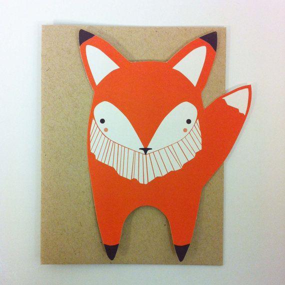Fox Die Cut Flat Notecard by Gingiber on Etsy