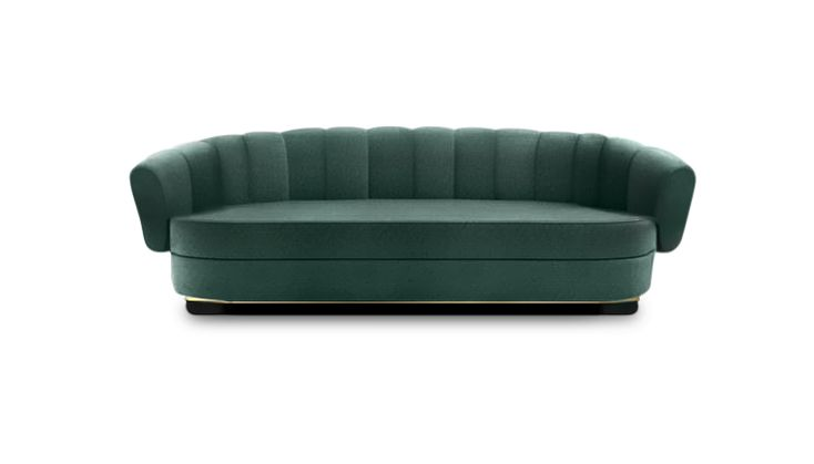 POWEL is an exquisite velvet sofa that will fit the most demanding taste. It is the piece that will transform a living room furniture set, adding boldness and elegance. | Modern Sofas. Living Room Furniture Set. #modernsofas #livingroomset #velvetsofa Discover more: https://www.brabbu.com/en/upholstery/powel-sofa/