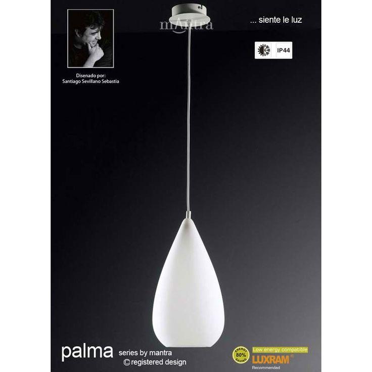 Mantra M1490 Palma Pendant 1 Light Outdoor IP44 Polished Chrome/White