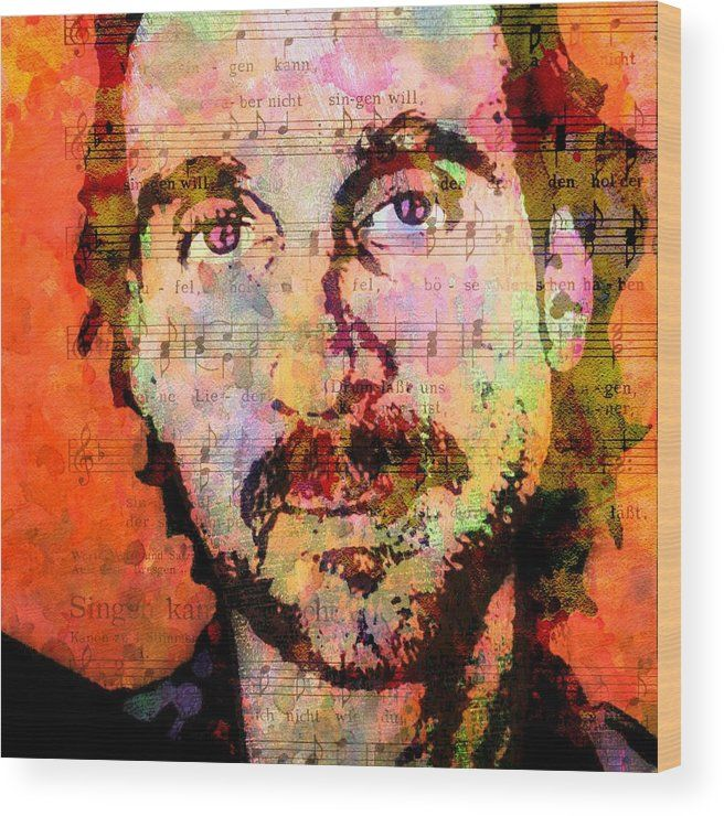 Genesis Wood Print featuring the painting Mike Rutherford by Otis Porritt