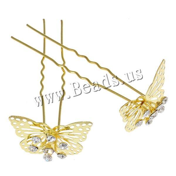 Pasadores para Cabello, aleación de zinc, con pasador de hierro, Mariposa, chapado en color dorado, con diamantes de imitación, libre de níquel, plomo & cadmio