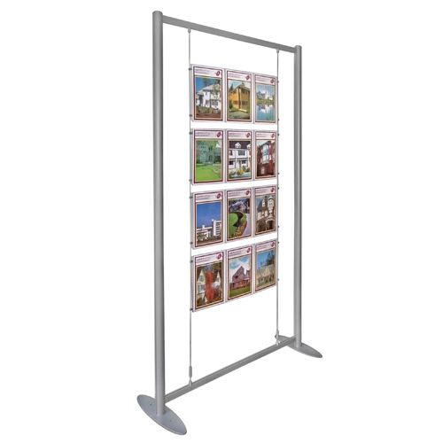 The Poster Display Stand with holders suspended on wires inside an  aluminium frame with a choice