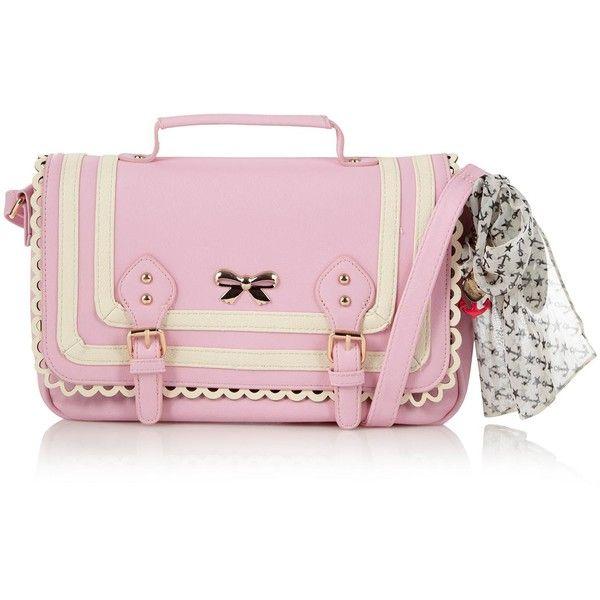 Pink scalloped ribbon satchel - Handbags & purses - Debenhams.com ❤ liked on Polyvore