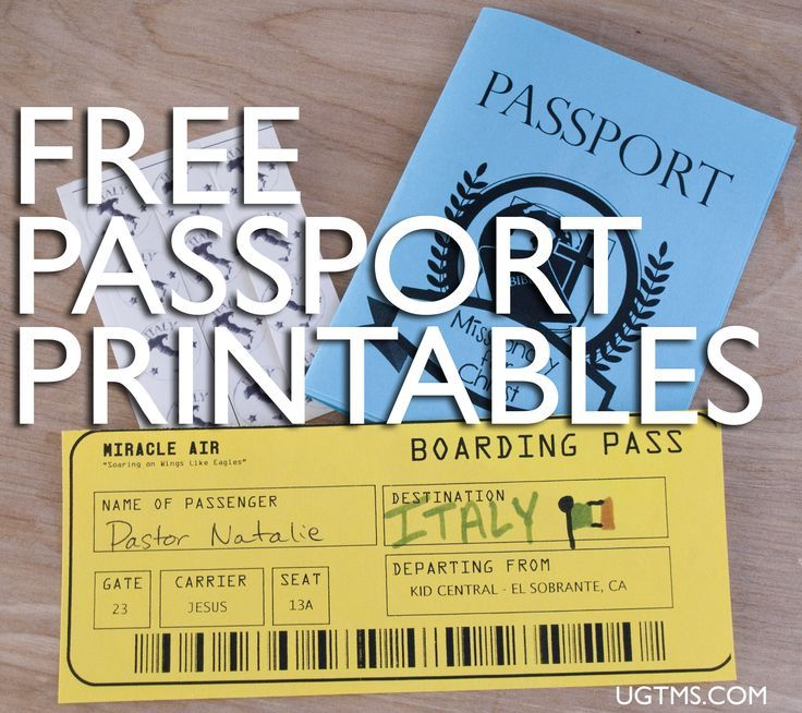 Free Passport Printables - can use something like this for my bulletin board and door!