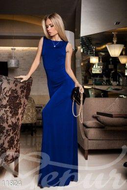 Gepur | Синее струящееся платье арт. 11824 Цена от производителя, достоверные описание, отзывы, фото , цвет: , цвет: электрик