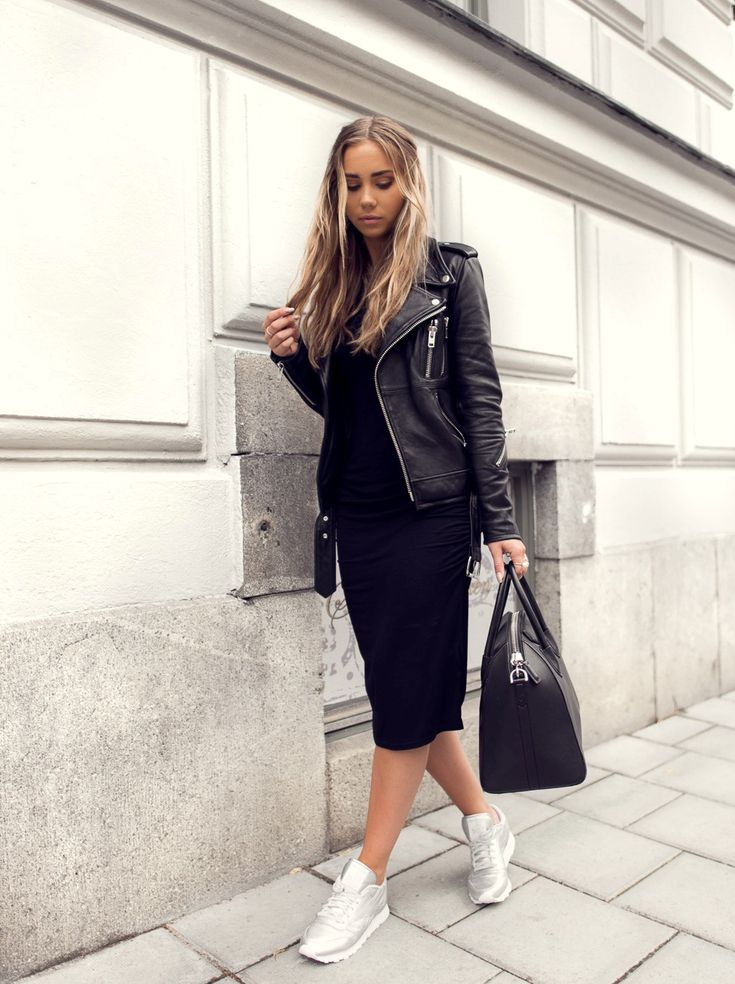 leather jacket and black dress with canvas sneakers