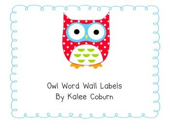 Owl Word Wall Letters - Color coded for vowels & consonants!