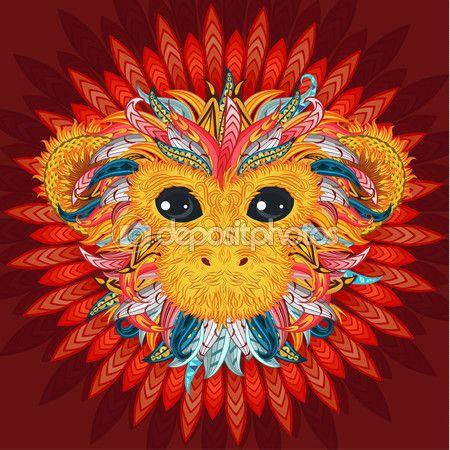 Татуировка Дизайн цвета голову обезьяны — Векторное изображение © VectorStory #91578524