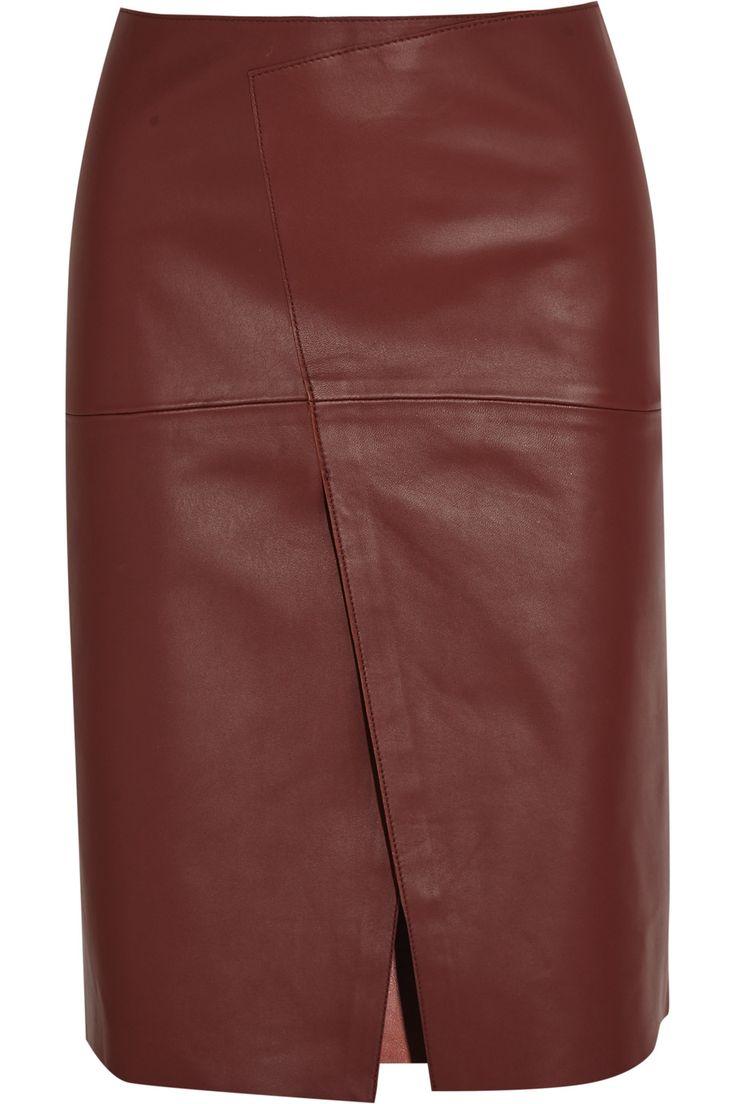 JOSEPH Saar Wrap-Effect Leather Skirt. #joseph #cloth #skirt