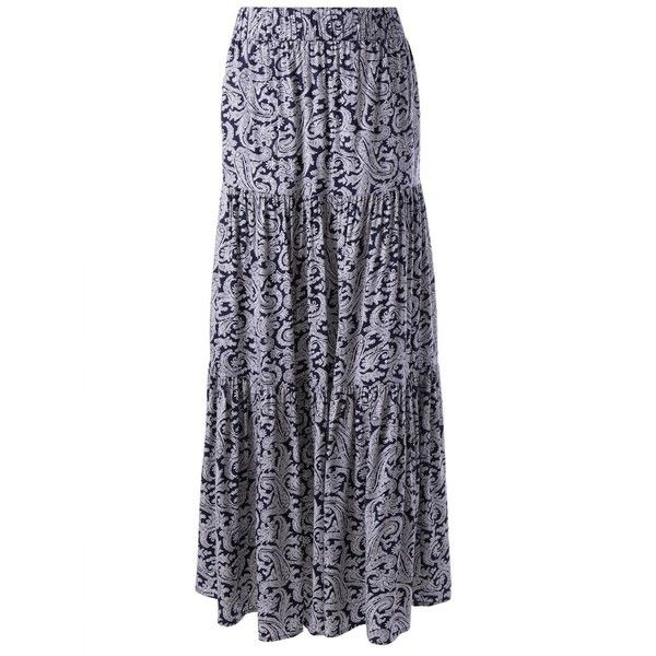 Elegant Printed In The Waist Long Skirt ($20) ❤ liked on Polyvore featuring skirts, blue skirts, long skirts, long blue skirt, maxi skirt and ankle length skirts